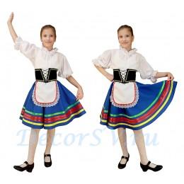 """Детский Итальянский танцевальный костюм """"Тарантелла"""": синяя юбка с фартуком + блузка + корсет + панталоны"""