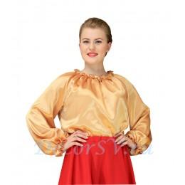 Блуза для русского костюма из желтой шелковой ткани