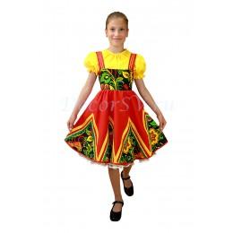 Платье детское плясовое красное с желтой блузкой.