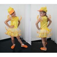 """Детский танцевальный костюм -""""Утенок"""" для девочки: платье + кепка + тапочки."""