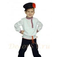 Русский народный костюм для мальчика (рубаха, штаны, кепка, шнурок).
