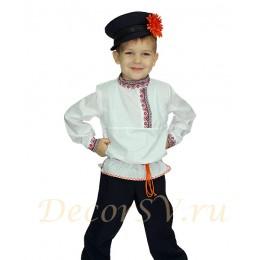 Русский народный костюм для мальчика (рубаха, штаны, кепка, шнурок)