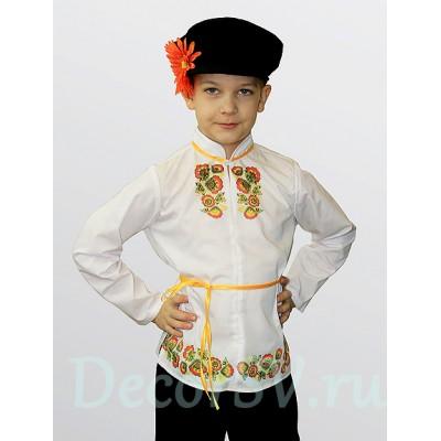 """- """"Русский народный костюм для мальчика в стиле """"Хохлома"""" (рубаха, штаны, кепка, шнурок)"""" от производителя DecorSV. (Артикул: Кост-232 )"""