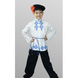 """Русский народный костюм для мальчика в стиле """"Гжель"""" (рубаха, штаны, кепка, шнурок)"""