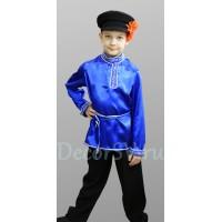 Русский народный костюм для мальчика с СИНЕЙ рубахой: (рубаха, штаны, кепка, шнурок).