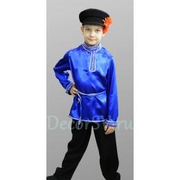 Русский народный костюм для мальчика с СИНЕЙ рубахой: (рубаха, штаны, кепка, шнурок)