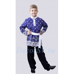 Рубашка народная для мальчика с кушаком из полульняной ткани синего цвета