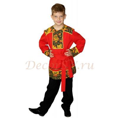"""- """"Рубашка народная для мальчика с кушаком красная в стиле """"Хохлома"""""""" от производителя DecorSV. (Артикул: РМ-227 )"""