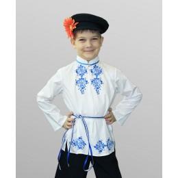 """Рубашка народная для мальчика со шнурком белая с рисунком """"Гжель"""""""