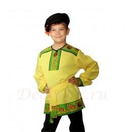 Рубашка народная для мальчика с рисунком на полочке и плечах желтая.