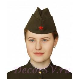 Упрощенная пилотка из костюмной ткани со звездой