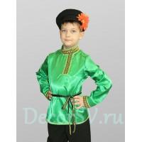 Рубашка народная для мальчика со шнурком атласная зеленая.