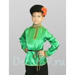 Русский народный костюм для мальчика с ЗЕЛЕНОЙ рубахой: (рубаха, штаны, кепка, шнурок)