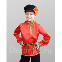 Рубашка народная для мальчика со шнурком атласная красная.