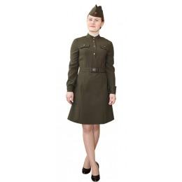 Комплект военный женский: платье форменное + пилотка + ремень.