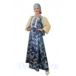 Русский народный костюм: сарафан, блуза и закрытый кокошник. Цвет бежево-синий