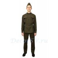 Комплект форменный мужской: гимнастерка времен ВОВ + брюки + ремень + пилотка.