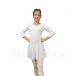 Купальник гимнастический с юбкой, цвет белый