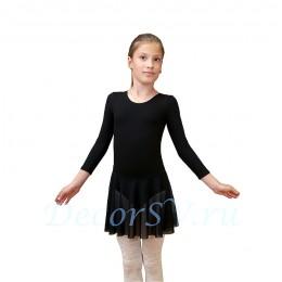 Купальник гимнастический с юбкой, цвет черный