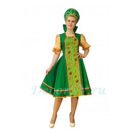 Русский народный костюм: платье и кокошник. Цвет зеленый