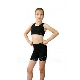 Шорты детские из хлопкового полотна, цвет черный
