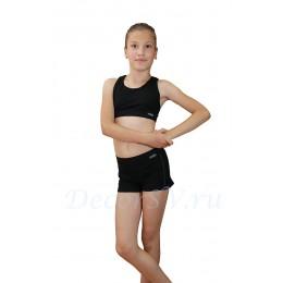 Шорты детские с белой отстрочкой из хлопкового полотна, цвет черный