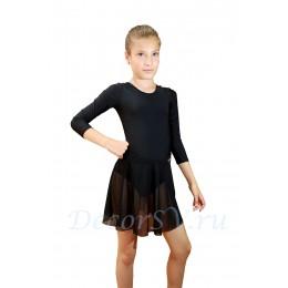 Юбка гимнастическая для девочки из сетки, цвет черный