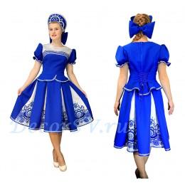"""Русский народный костюм в стиле """"Гжель"""": кофта, юбка и кокошник"""