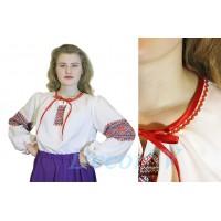 Блуза для русского костюма из белой ткани с рисунком