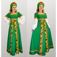Русский народный костюм: платье с желтой вставкой и кокошник. Цвет зеленый