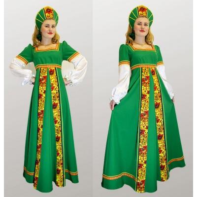 """- """"Русский народный костюм: платье с желтой вставкой и кокошник. Цвет зеленый"""" от производителя DecorSV. (Артикул: РНП-2910 )"""