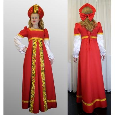 """- """"Русский народный костюм: платье с желтой вставкой и кокошник. Цвет красный"""" от производителя DecorSV. (Артикул: РНП-2911 )"""