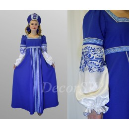Русский народный костюм: платье с печатью и с тесьмой + кокошник со шнуровкой. Цвет синий