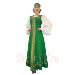 Русский народный костюм: сарафан, блузка без рисунка, кокошник. Цвет зеленый