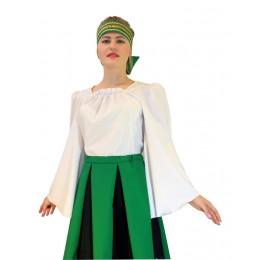 Блуза для русского костюма из белой ткани с широким рукавом. Без рисунка