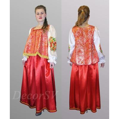 """- """"Русский народный костюм: жакет из парчи с атласными рукавами+юбка. Цвет красный"""" от производителя DecorSV. (Артикул: РНП-33/1 )"""