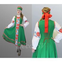 Русский современный костюм для танца. Блуза + сарафан + кокошник