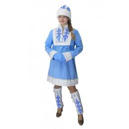 """Новогодний костюм Снегурочки в стиле """"Гжель"""". В комплекте: шубка, шапочка белая с рисунком, гетры белые с рисунком, рукавички голубые."""