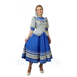 Казачий костюм женский. Костюм состоит: блузка, юбка, шлычка на волосы. Цвет голубой.