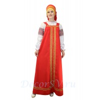 Русский народный сарафан. Цвет сарафана красный. (Блуза и кокошник продаются отдельно).