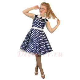 Платья Стиляги с пышной юбкой. Цвет темно-синий.