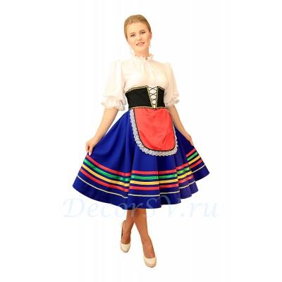 """- """"Итальянский танцевальный костюм """"Тарантелла"""": юбка с фартуком и подъюбником, блузка, корсет, панталоны"""" от производителя DecorSV. (Артикул: ТКР-11 )"""