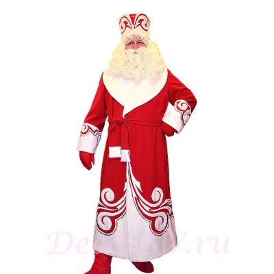 """- """"Новогодний костюм Деда Мороза красный. Комплект - шуба с узором, пояс, шапка, варежки (без бороды и мешка)"""" от производителя DecorSV. (Артикул: 11НКД-02-К )"""
