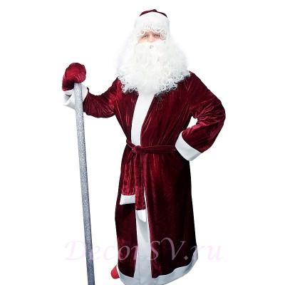 "- ""Новогодний костюм Деда Мороза из БОРДОВОГО бархата без снежинки. Комплект - шуба, пояс, шапка, варежки (без бороды и посоха)."" от производителя DecorSV. (Артикул: 11НКД-11-Э )"