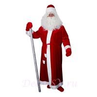 Новогодний костюм Деда Мороза из КРАСНОГО бархата без снежинки. Комплект - шуба, пояс, шапка, варежки (без бороды и посоха).