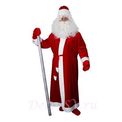 "- ""Новогодний костюм Деда Мороза из КРАСНОГО бархата без снежинки. Комплект - шуба, пояс, шапка, варежки (без бороды и посоха)."" от производителя DecorSV. (Артикул: 11НКД-12-Э )"