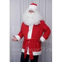 Новогодний костюм Деда Мороза упрощенный: куртка и шапка из красного габардина (борода в комплект не входит).