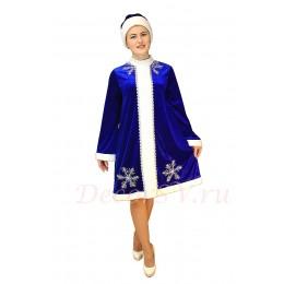 Новогодний костюм Снегурочки из синего стрейч-велюра (бархата) со снежинками. Шубка и шапочка.