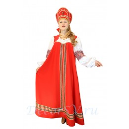 Русский народный костюм: платье + кокошник. Цвет красный