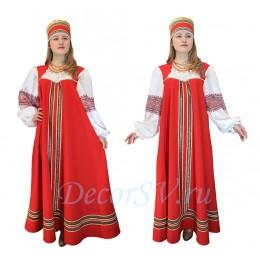 Русский народный костюм платье + кокошник. Цвет красный